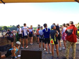Bicyclists at their morning briefing in St. Emilion before taking off on their 49.709 mile ride. My partners Craig Helmreich and David Robinson should check this out for future vacation plans.