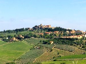 "A view of ""old"" Panzano from Villa La Barone. Vineyards and olive groves everywhere."