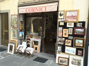Art shop on Greve main square with beautiful frames although the one Rita liked was 2500 Euro.  The owner's daughter told us it was so expensive because her father did not want to sell it!