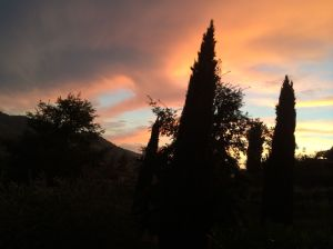 A beautiful Chianti (Tuscan) sunset from our patio in Greti.