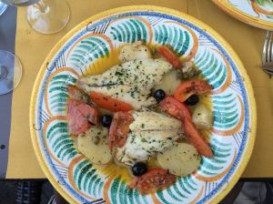 One of the fish meals we found at Il Portico in Greve.  This one is the John Dory with potatoes and tomatoes.  Delicious.