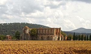 This is the abbey at the bottom of the hill from St. Galgano's church.