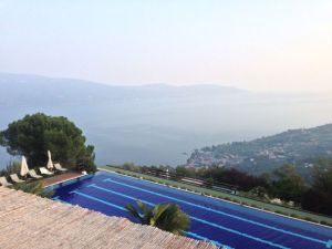 "View of the pool and Lake Garda from Gargnano with all the ""haze"" that surrounds this part of the area."
