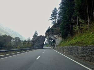 Now we're back on the road again to Switzerland. Think this is what they call falling rock? Or a half of a tunnel?