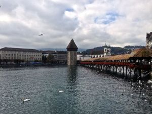 The bridge in Lucerne. Oldest wooden bridge in Europe. Second most photographed sight in Switzerland.