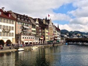 View of Lucerne from the bridge.